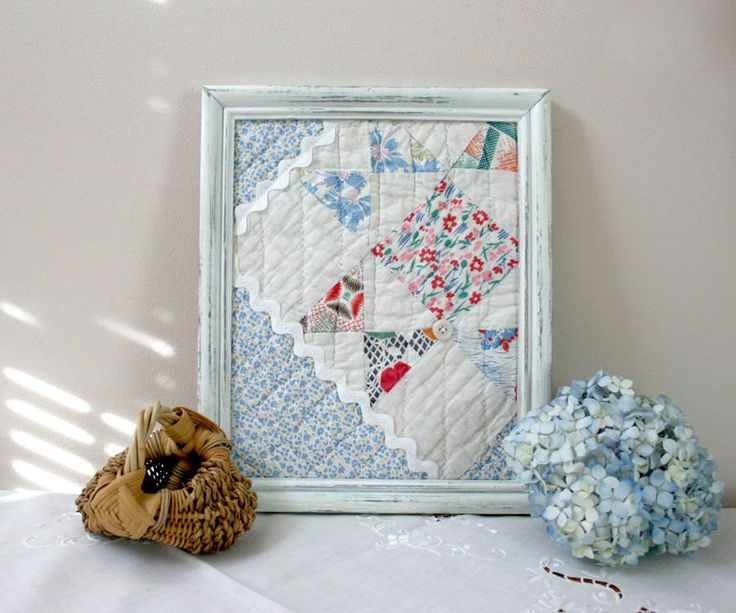 Framed Vintage Quilt Square - wall decor spring easter mothers day blue pink red white shabby chic cottage nursery decor childs room decor.