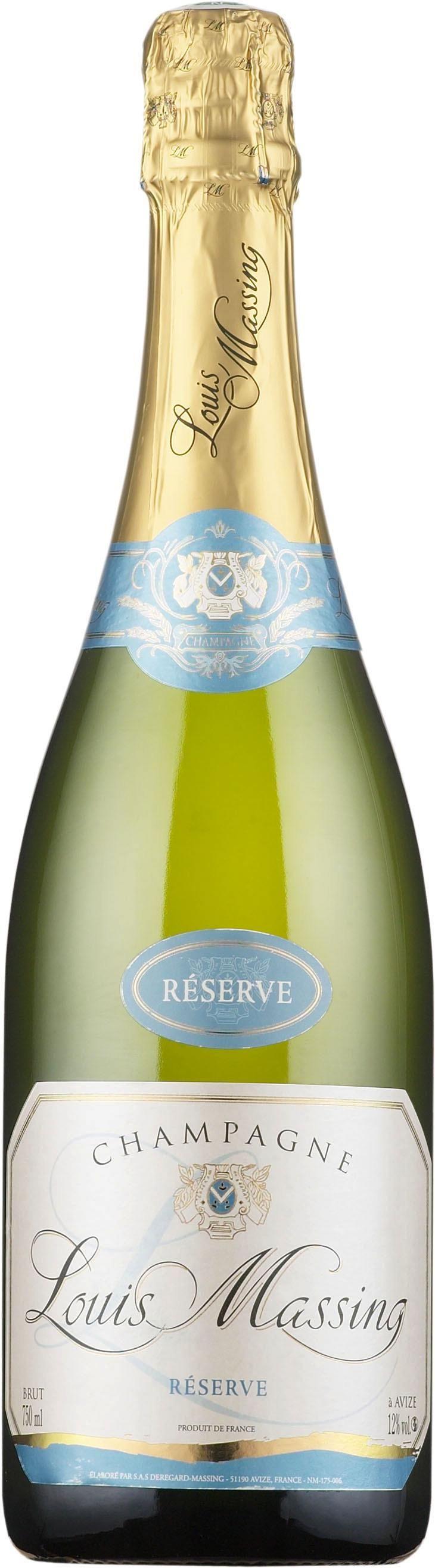 Louis Massing Réserve Champagne Brut. France: Pinot meunier, Chardonnay. 27,50 €. Erittäin kuiva, keskihapokas, hedelmäinen, keltaluumuinen, hennon paahteinen, kevyen mineraalinen