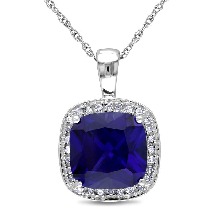 Miadora 10k Gold Created Sapphire and 1 10ct TDW Diamond Necklace wit…