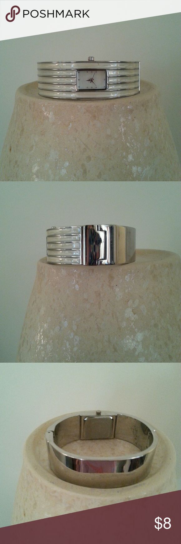 """Bangle Watch Off-white enamel, hinged cuff style, second hand, silvertone. 3/4 """" tall. Needs battery. Accessories Watches"""