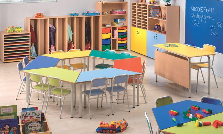 Pupitres escolares agrupados espacios educativos pinterest pupitres escolares y - Mobiliario infantil valencia ...