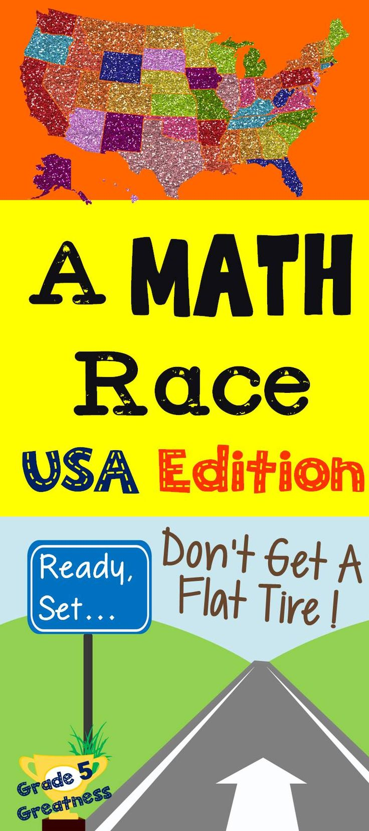 A math race that has students racing across the United States!  Perfect for end of year as it practices decimals, fractions, whole number operations, polygons, measurements, and more!