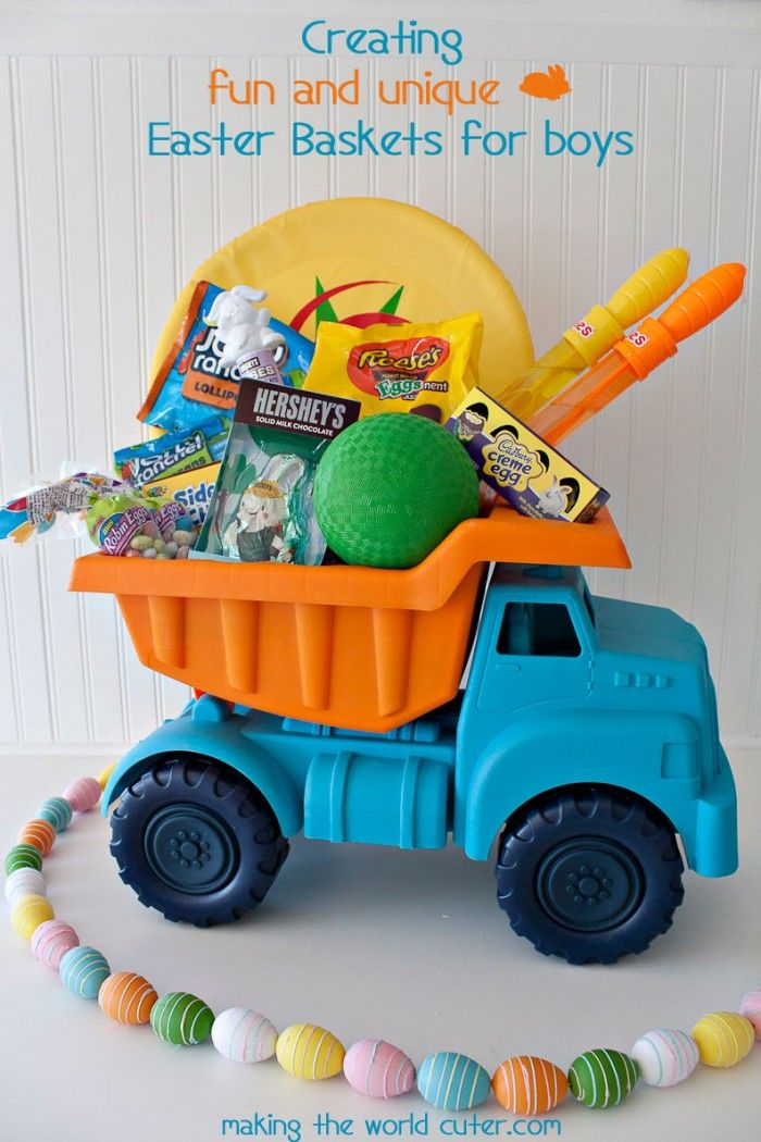 Creating cute and unique Easter Baskets for Boys, this dump truck one is so cute! My boys would LOVE it! #HersheysEaster #ad