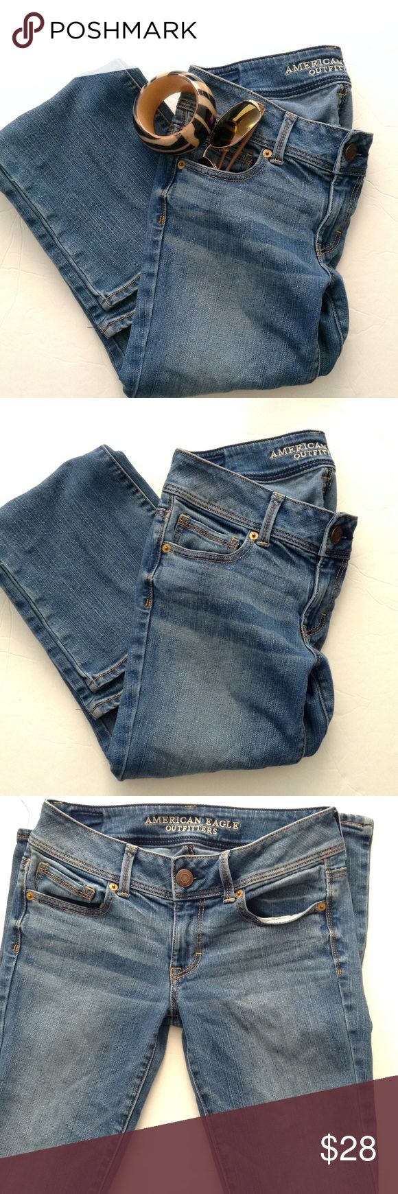 AEO Denim X KICK BOOT JEANS EUC Size 4 American Eagle Outfitters Denim X KICK BOOT Jeans; Regular; Cotton/Elastane Machine Wash; in great used condition. Size 4. ☘ Please read closet policies before purchase☘ American Eagle Outfitters Jeans Boot Cut