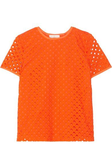 Tory Burch - Hermosa Broderie Anglaise And Cotton-jersey Top - Bright orange - US14