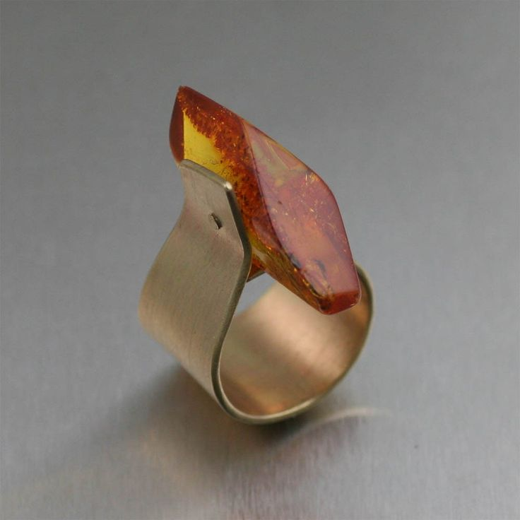 Contemporary Bronze Bark Ring with Honey Amber