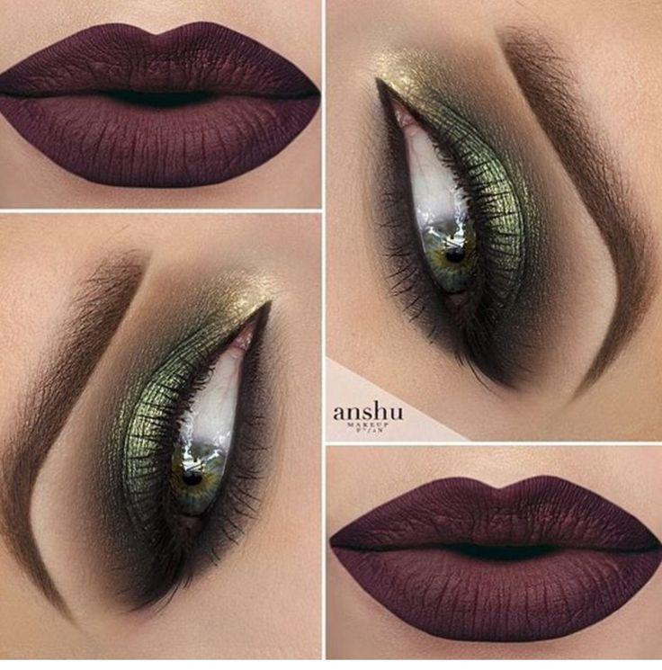 Green shadow with dark lippie