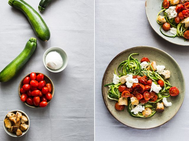 Zoodles with pesto, Roasted Cherry Tomatoes, Mozzarella and Croûtons | christelleisflabbergasting.com