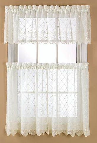 Awesome Mystic Crushed Embroidered Tier Pair With Scalloped Hem By Stylemaster.  Find This Pin And More On Sheer Kitchen Curtains ...