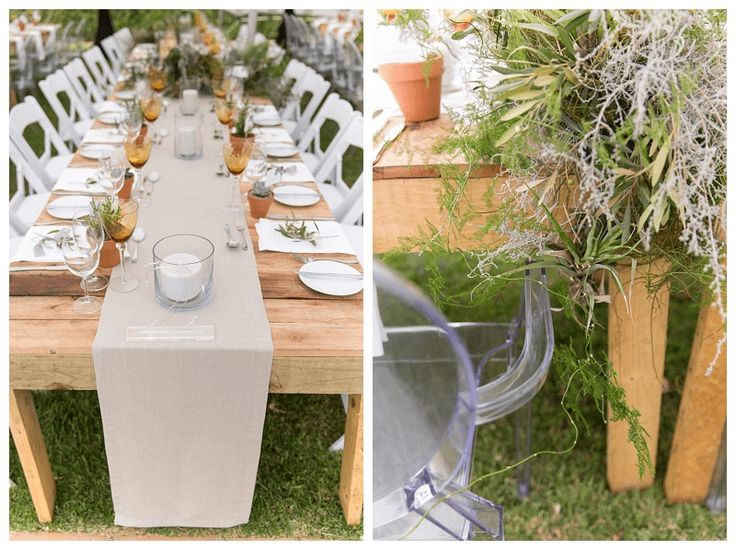 Natural raw decor elements coupled with modern chairs and glassware