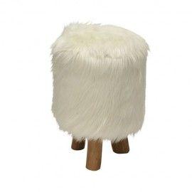 Inspirational White Faux Fur Stool