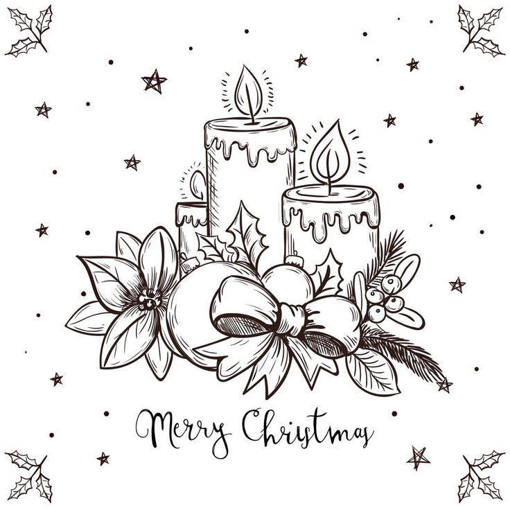 Нарисованная карандашом открытка к рождеству