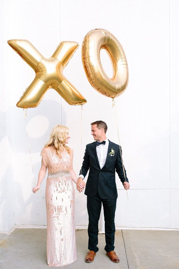 Giant Gold XO Balloons Engagement Photo Prop by brightsoslight