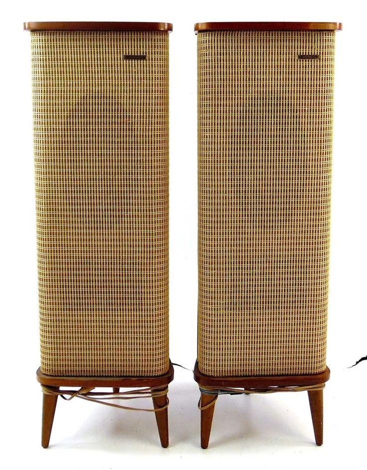 Set of 2 Vintage Mid-Century Grundig Hi-Fi Stereo Box/Stereo Mate IV Speakers #Raumklang