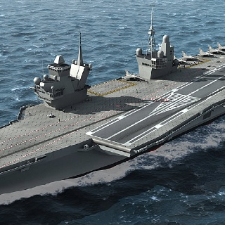 British Royal Navy aircraft carrier with 2 control towers!