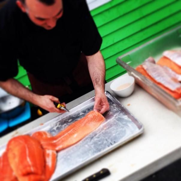 Chef Roger Dewling prepping his salmon for the Seafood BBQ