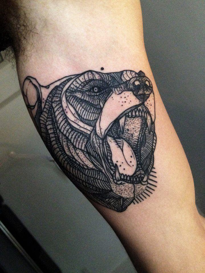 #ArmTattoo, #bear #ink #tattoo