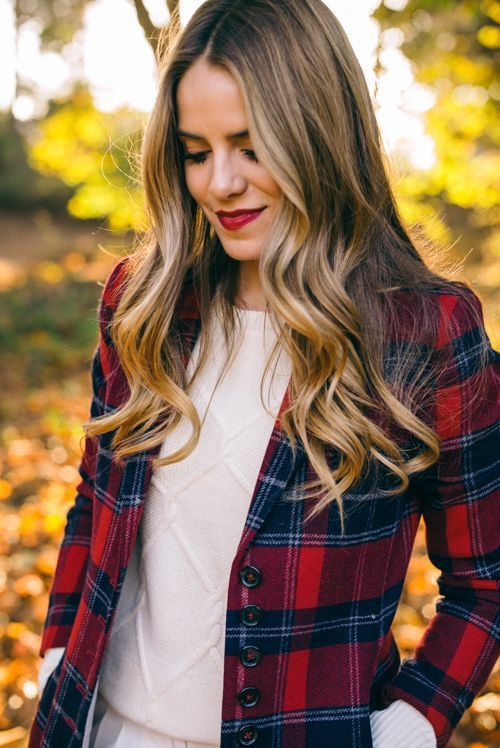 Red + navy plaid blazer #styleblogger #fallstyle