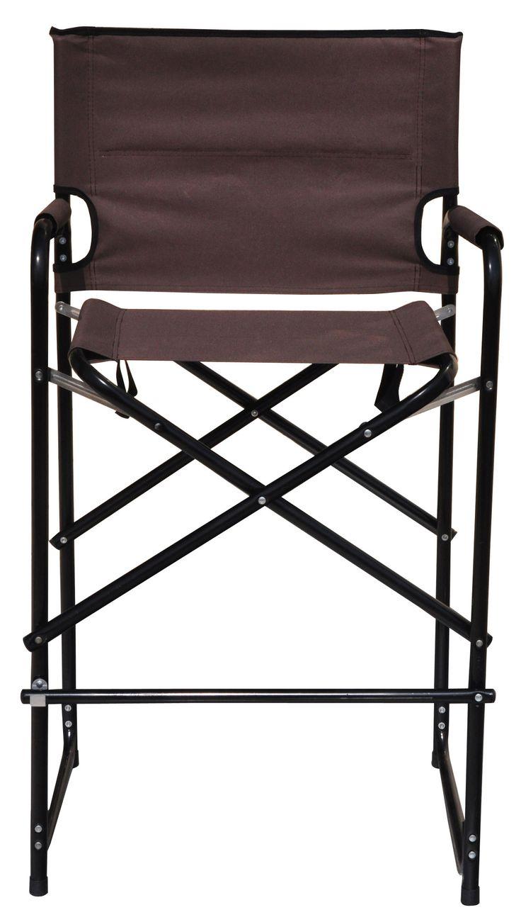 Trademark Innovations Lightweight And Durable Aluminum Folding Tall  Directoru0027s Chair (Brown Metal Directoru0027s Chair) (Fabric)