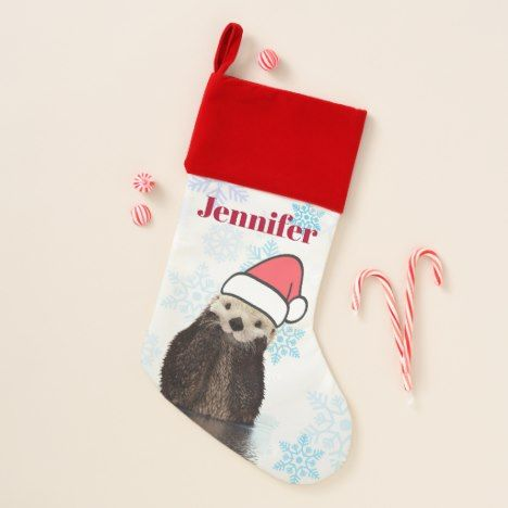 5a7aa4b12c42b Cute Otter Wearing a Santa Hat Christmas Christmas Stocking  xmas  christmas   personalized  stockings