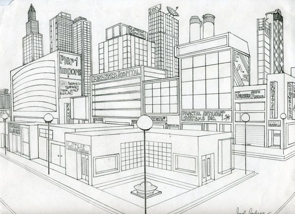 Perspective Drawing Of A City By Actionjdjackson On