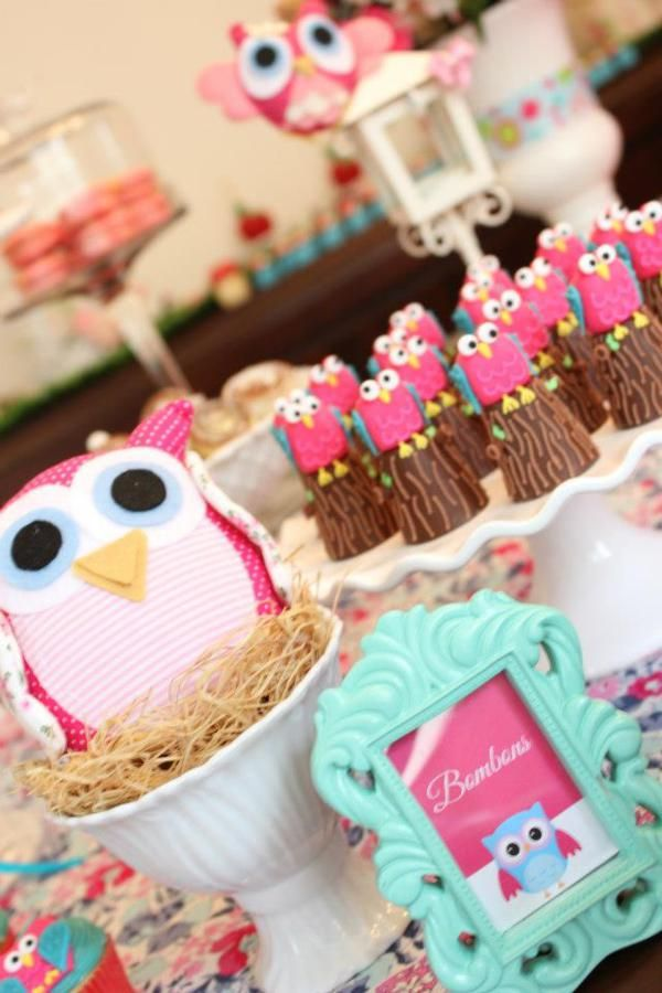 toddler girl fall birthday party ideas | Woodland Owl Bug Flower Garden Girl Birthday Party Planning Ideas