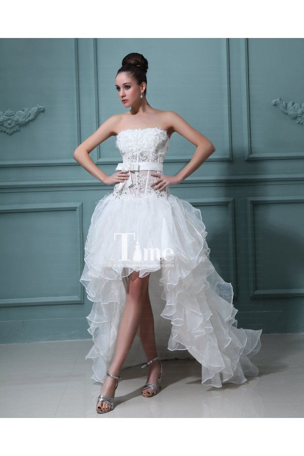 Pin by rosalyn beaton on clothes i wish pinterest for Short wedding dress with long train