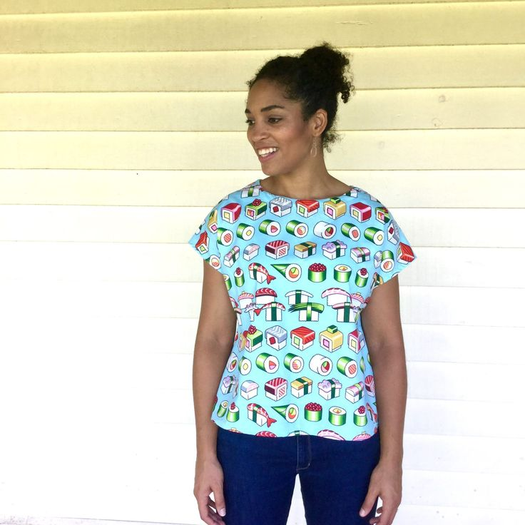 Ladies SUSHI PLEASE top, from Kablooie Store - bold, colourful, quirky fashion for ladies! Be fabulous!!
