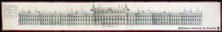 Fachada principal del proyecto para el Palacio Real nuevo de Madrid.  Juvarra, Filippo (1678-1736)  Publicación, [ca. 1735-1741]