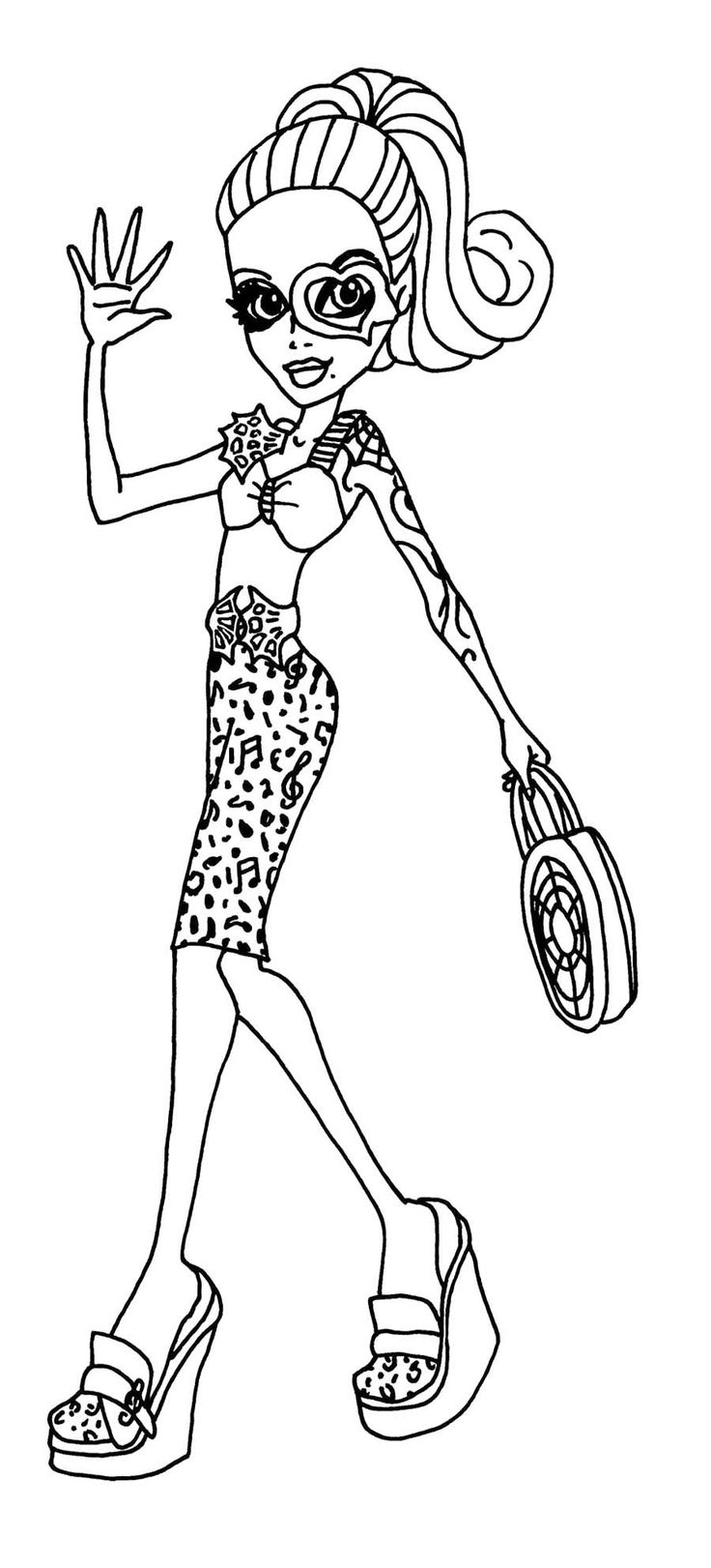 monster high operetta waving coloring page