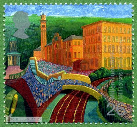 Mills on stamps — David Hockney  Salt's Mill Saltaire