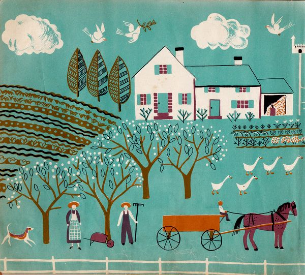 """detail from """"One Horse Farm"""" endpapers, Dahlov Ipcar 1950"""