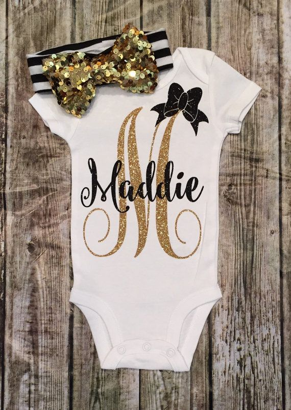 Personalized Monogram Bodysuit Sparkle Baby Girl by BellaPiccoli