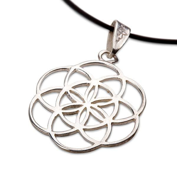Seed of Life Pendant - Silver - The Symbol of Creation and Fertility. A symbol of blessing, fertility and protection  Seed of lifeis worn as asymbol of protection for pregnant women.  It helps tocreate new ideasand to open new pathways in life.   Theseed of lifeis a symbol for the days of creation.  It addresses the creative process of the Flower of Life - a geometric shape that symbolizes the entire universe.
