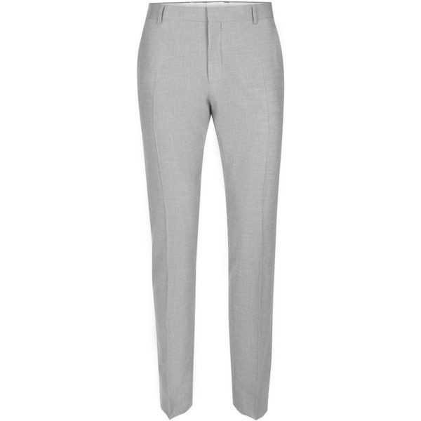 TOPMAN Selected Homme Light Grey Slim Fit Suit Trousers ($78) ❤ liked on Polyvore featuring men's fashion, men's clothing, men's pants, men's casual pants, grey, mens slim fit dress pants, mens grey dress pants, mens slim dress pants, mens gray dress pants and mens light grey dress pants