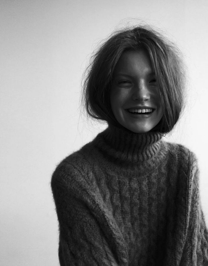 Cold Weather Photo Idea: Big Smile + Big Sweater + Hair Tucked in Sweater + in Black&White OR Another color.
