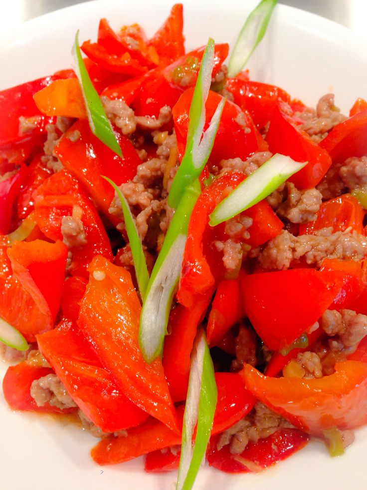... bell pepper and ground pork with ginger, green onion, and soy sauce
