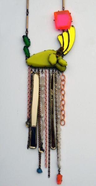 NIKKI COUPPEE-USA - untittled- plexiglass,brass,polymer clay,found object-2011-necklace