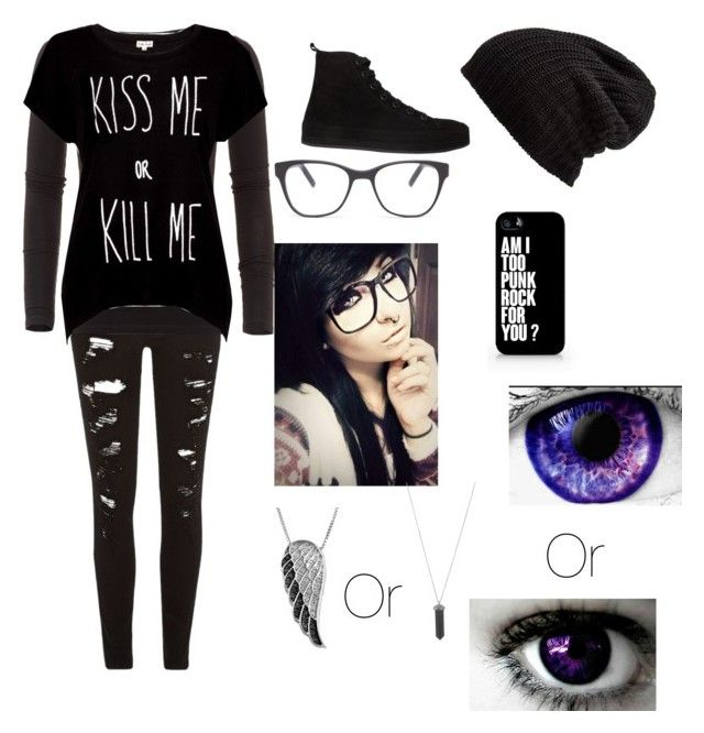 """""""My emo school outfit"""" by potatolover123 ❤ liked on Polyvore featuring beauty, River Island, American Vintage, Rotten Roach, Free People, Ann Demeulemeester, Prism, Samsung, Jewel Exclusive and Karen Kane"""