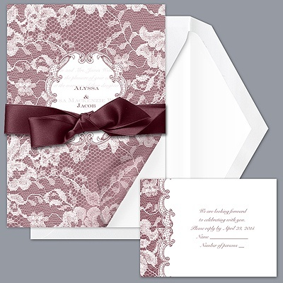 Lace Wrap - Rosewood - Invitation  I love these invitations and the color!