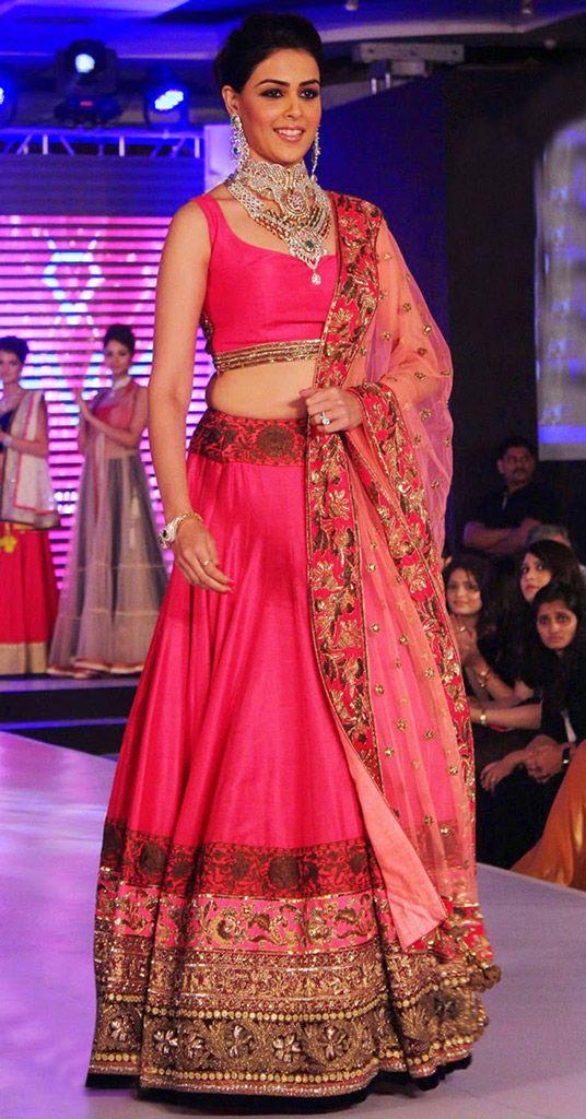 USD 85.32 Genelia Dsouza Deep Pink Bollywood Lehenga Choli 44221