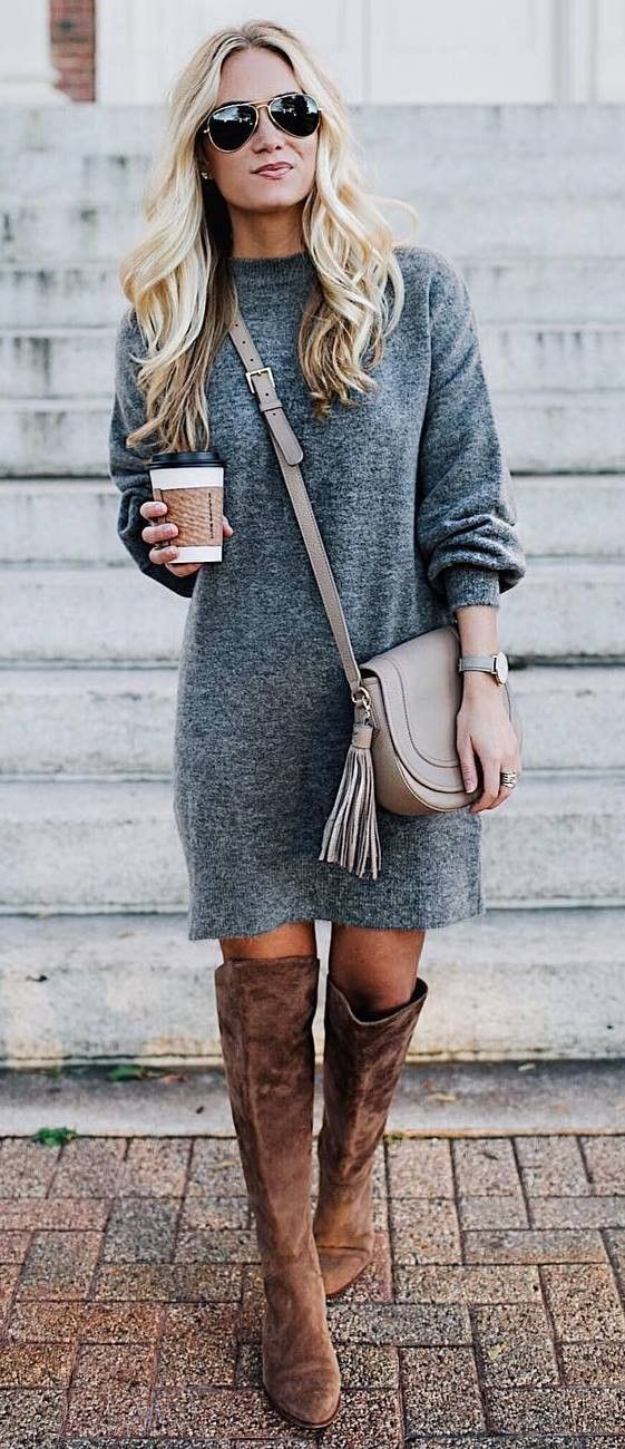 cute winter outfit_grey sweater dress + bag + brown over knee boots