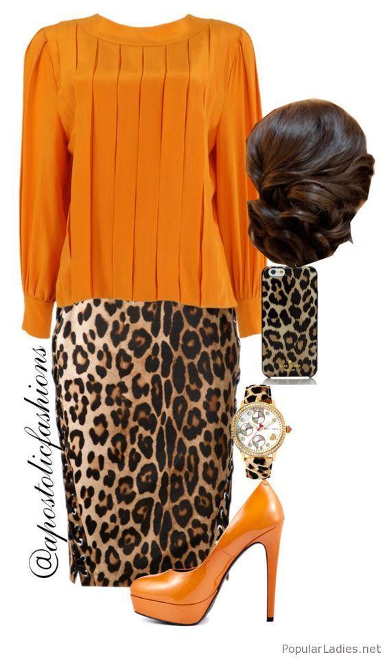 Leo skirt with orange blouse