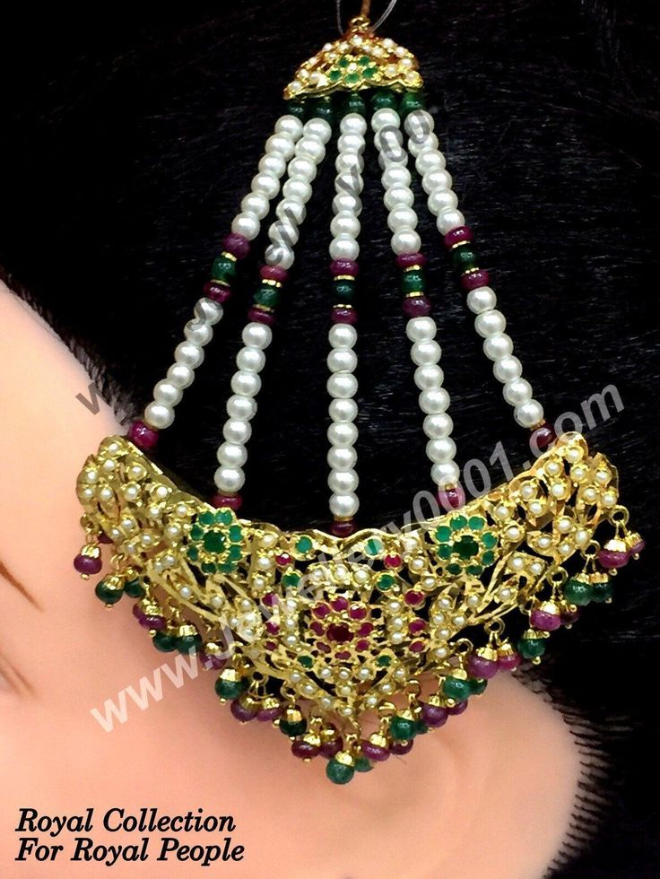 Bridal Jhumar Passa Jewellery – a hair ornament that is worn on the left side of the head and covers the hair from one side. Pearls, Jhumar, Passa Kundan and Jadau Passa Jhoomar Jewellery available for women.