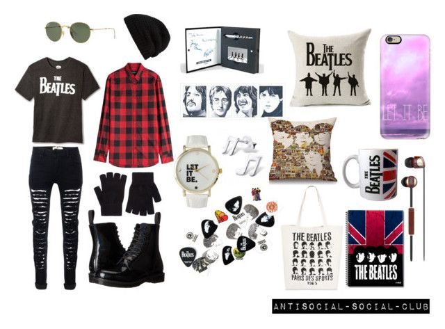 """""""Beatles^^"""" by guns-nicole-roses on Polyvore featuring Dsquared2, Dr. Martens, Target, Frontgate, Ray-Ban, Casetify, Skullcandy, Olivia Pratt, Rick Owens and Accessorize"""