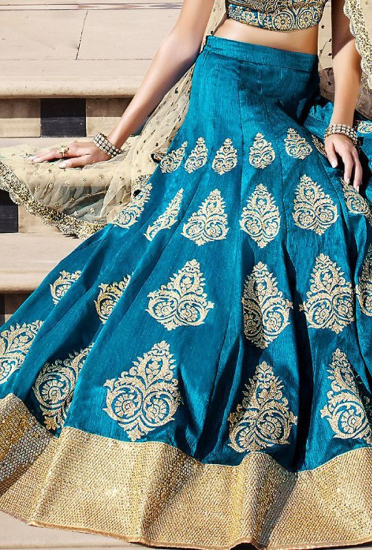 Limited stock left. Elegant Firozi Bhagalpuri Bridal Lehenga. A perfect example…