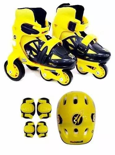 patins infantil amarelo masculino 27 ao 30 kit proteção