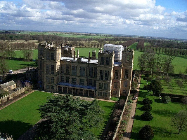 Hardwick Hall, Elizabethan estate of Bess of Hardwick, built in the 1590s. It is famous for its rows of gigantic windows.