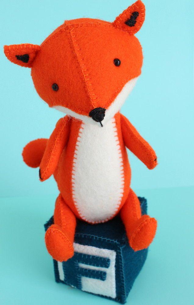 F is for Fox: PDF sewing pattern fox toy, felt fox, fox sewing pattern