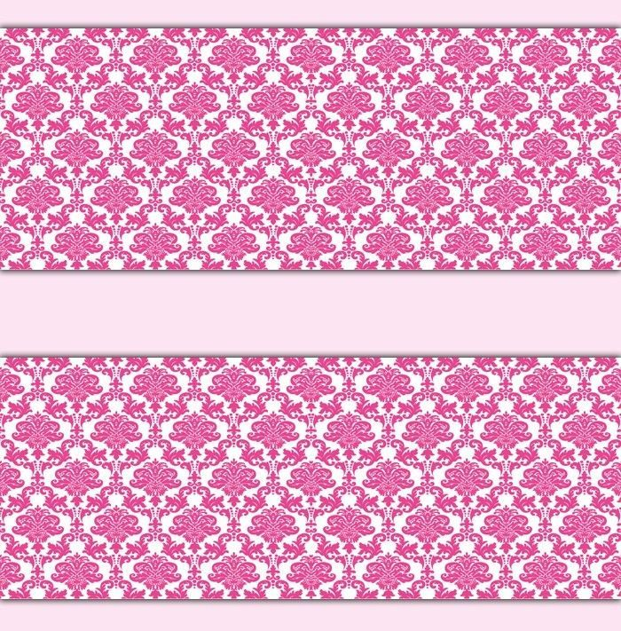 Damask Wallpaper Border Hot Pink Wall Art Decal Baby Girl